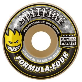 Spitfire Wheels - Formula Four - 99D - Conical (Yellow Print) - 52MM