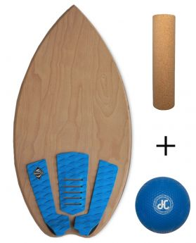 Balance Board Balance Pro - The Classic - Natural - LIGHT BLUE (Board with Ball + Roll)